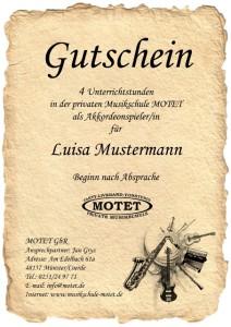 Gutscheine für Gitarrenunterricht Münster